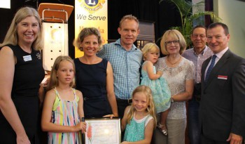Nicole Johnston, councillor for Tennyson, with David and his wife Penny and children, David's parents, and Graham Perrett, federal MP for Moreton.